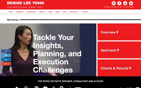 Screenshot of Services Page deniseleeyohn.com - Brand Consulting | Services | Brand Strategy | Denise Lee Yohn - captured Oct. 19, 2018
