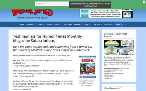 Screenshot of Testimonials Page humortimes.com - Testimonials for Humor Times Monthly Magazine Subscriptions - captured July 24, 2018