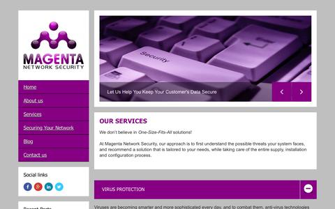 Screenshot of Services Page magenta-security.com - Services ⋆ Magenta Network Security Ltd - Magenta Network Security Ltd - captured Feb. 4, 2016