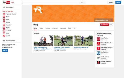 Screenshot of YouTube Page youtube.com - tririg  - YouTube - captured Nov. 2, 2014