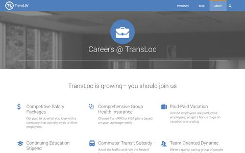 Screenshot of Jobs Page transloc.com - Careers - TransLoc - captured Sept. 18, 2014