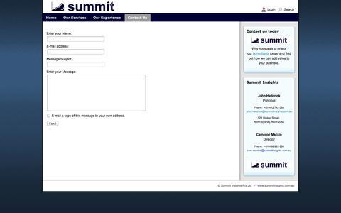 Screenshot of Contact Page summitinsights.com.au - Summit - Summit Sales - captured Sept. 30, 2014