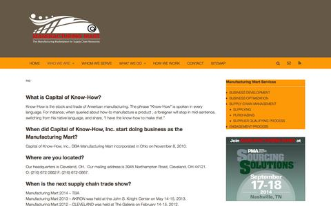 Screenshot of FAQ Page manufacturingmart.com - FAQ | Operations Improvement Services - captured Sept. 30, 2014