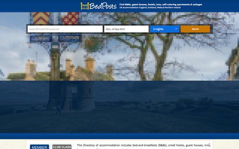 Screenshot of Home Page bedposts.uk - Find cheap B&B, hotel, guesthouse, self-catering accommodation - captured Sept. 13, 2015