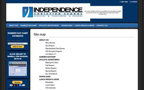 Screenshot of Site Map Page independencechristianschool.com - Independence Christian School - Site Map - captured July 27, 2018