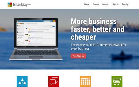 Screenshot of Home Page interbizy.com - InterBizy | B2B Social Commerce Platform - captured Jan. 21, 2015