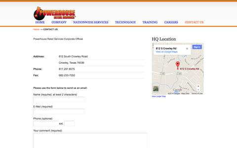 Screenshot of Contact Page powerhouseretailservices.com - CONTACT US «  powerhouseretailservices.com - captured Sept. 30, 2014