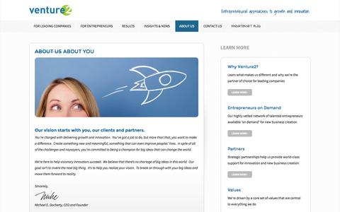 Screenshot of About Page venture2.com - About us About you - Venture2 Inc - captured Oct. 7, 2014