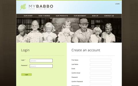 Screenshot of Signup Page Login Page mybabbo.com - MyBabbo | Home Page | Legacy Photo Books - Video Tributes - Stationery - captured Oct. 20, 2018
