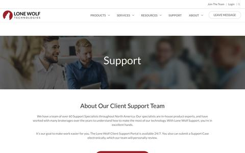 Screenshot of Support Page lwolf.com - Support | Lone Wolf Technologies - captured June 18, 2017
