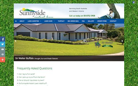 Screenshot of FAQ Page sunnysideinstantlawn.com.au - FAQs - Sunnyside Instant Lawn - captured Oct. 8, 2014