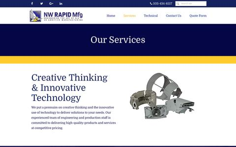 Screenshot of Services Page nwrapidmfg.com - Additive Manufacturing and 3D printing Services - captured Nov. 30, 2016