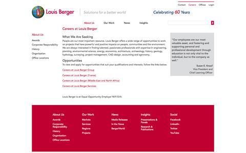 Screenshot of Jobs Page louisberger.com - Careers at Louis Berger   Louis Berger - captured Sept. 24, 2014