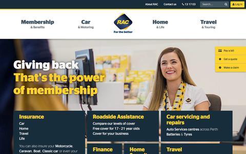 Screenshot of Home Page rac.com.au - Home and Car Insurance, Motoring, Finance, Travel, Home Security | RAC WA - captured Nov. 28, 2016