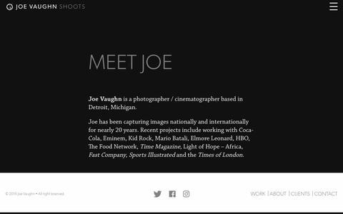 Screenshot of About Page joevaughn.com - About - Joe Vaughn - captured Nov. 29, 2016