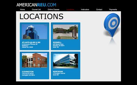 Screenshot of Locations Page americanreu.com - areu   Locations - captured Nov. 20, 2016