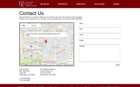 Screenshot of Contact Page evanskatz.com - Evans & Katz   Work With Us - captured Aug. 29, 2017
