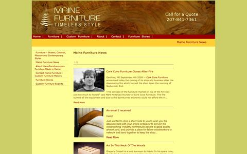 Screenshot of Press Page mainefurniture.org - Maine Furniture News - captured Feb. 15, 2016
