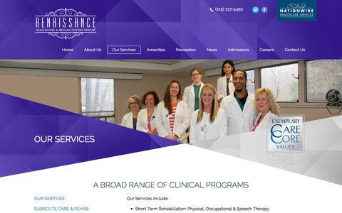 Screenshot of Services Page renaissancehcr.com - Philadelphia, PA Specialized Wound Care Facility | Pain Management Center Philadelphia - captured Oct. 21, 2016