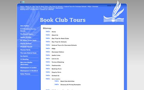 Screenshot of Site Map Page bookclubtours.co.uk - Book Club Tours - Sitemap - captured Oct. 5, 2014