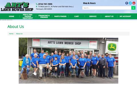 Screenshot of About Page artslawnmowershop.com - About Us Art's Lawn Mower Shop Florissant, MO (314) 741-1055 - captured Oct. 4, 2018