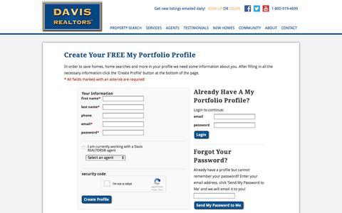 Screenshot of Signup Page davisrealtors.net - My Portfolio - captured June 4, 2017