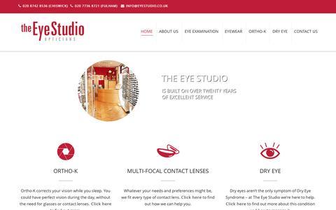 Screenshot of Home Page eyestudio.co.uk - Home - The Eye Studio Opticians - London - captured Nov. 30, 2016