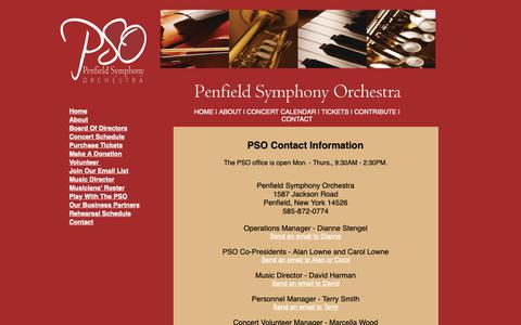 Screenshot of Contact Page penfieldsymphony.com - Penfield Symphony Orchestra - Contact Information - captured Dec. 14, 2018
