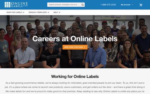 Screenshot of Jobs Page onlinelabels.com - Careers - OnlineLabels.com - captured Sept. 21, 2018