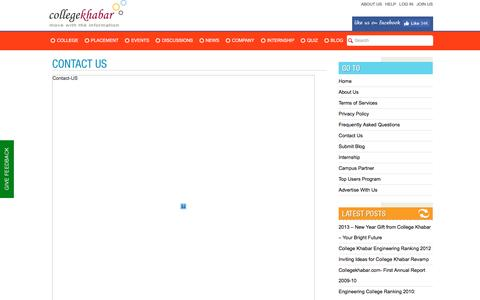 Screenshot of Contact Page collegekhabar.com - Contact  Collegekhabar -College Khabar - Engineering Placement News, Student College Reviews, Company Reviews, College Events,Placement Papers, Student Interviews | College Khabar's Official Blog - captured Aug. 27, 2016