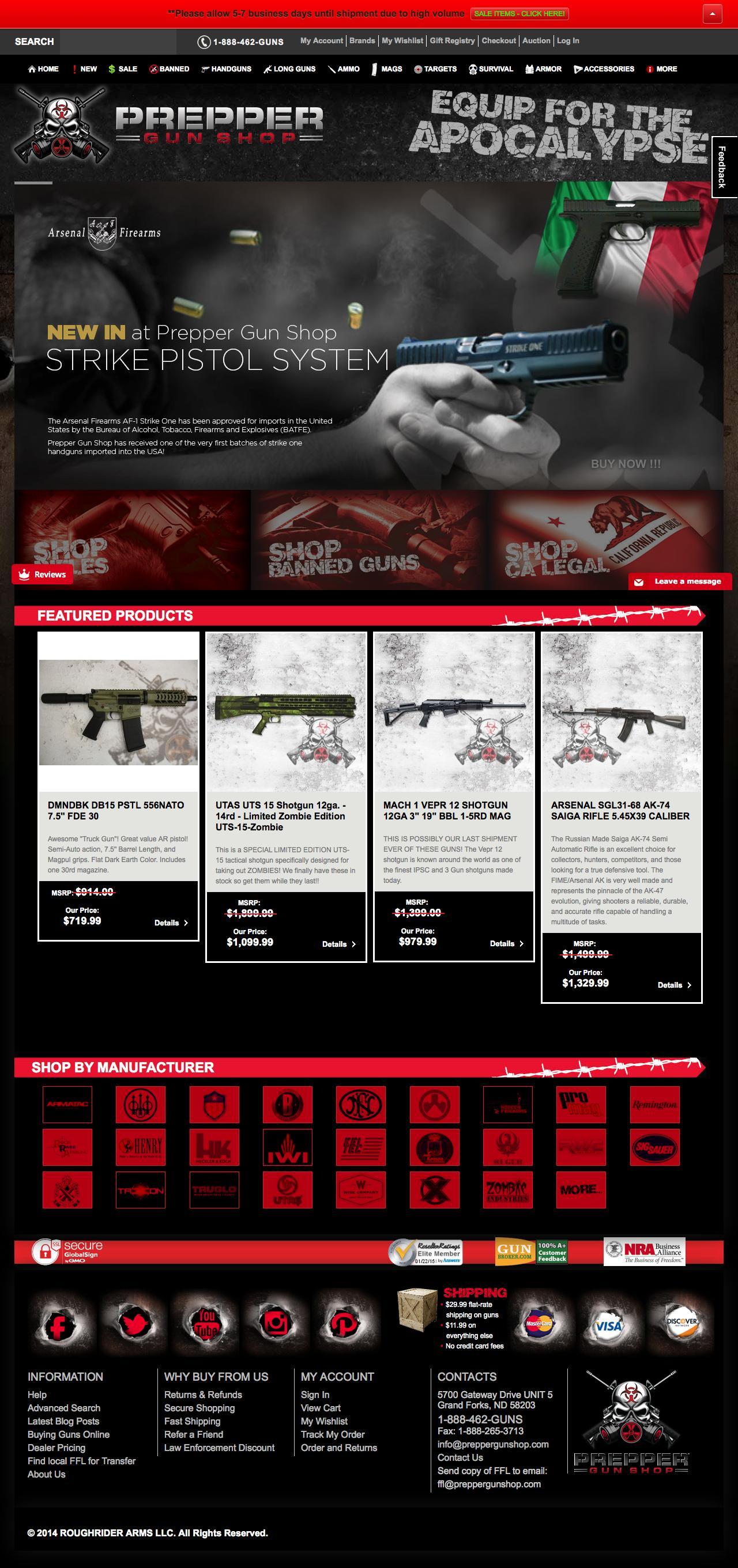Screenshot of preppergunshop.com - Prepper Guns Home Prepper Gun Shop - captured Jan. 23, 2015