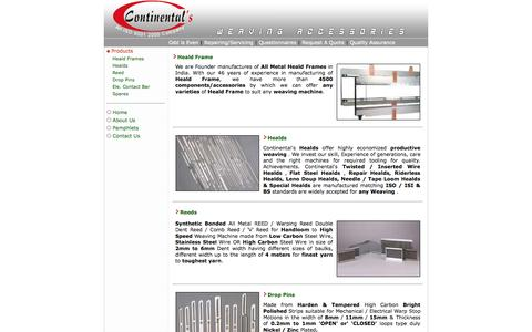 Screenshot of Products Page continentals.in - Continental's : Products - captured Oct. 3, 2014