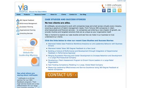 Screenshot of Case Studies Page viapeople.com - Talent Management Case Studies | Human Resource Software - captured Sept. 19, 2014