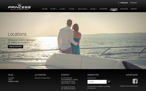 Screenshot of Locations Page princess.fr - Location de Yachts sur la Côte d'Azur Princess - captured Sept. 25, 2018