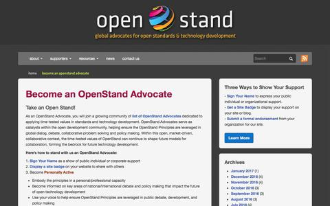 Screenshot of Support Page open-stand.org - Become an Advocate for Open Standards & Technology  | OpenStand - captured Jan. 4, 2017