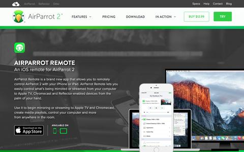 Screenshot of airsquirrels.com - AirParrot Remote for iOS | A remote for AirParrot 2 - captured Sept. 16, 2016