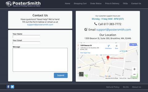 Screenshot of Contact Page postersmith.com - PosterSmith - captured Sept. 28, 2018