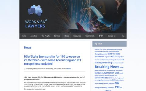 Screenshot of Press Page workvisalawyers.com.au - Blog | Work Visa Lawyers - captured Oct. 9, 2014