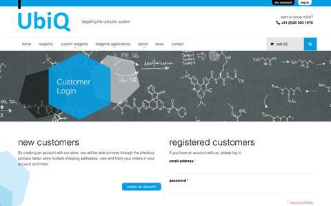 Screenshot of Login Page ubiqbio.com - Customer Login - captured Nov. 3, 2017
