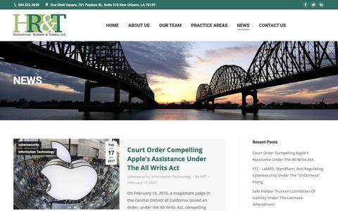 Screenshot of Press Page hanrylaw.com - NEWS | Hangartner, Rydberg & Terrell LLC - captured Sept. 27, 2018