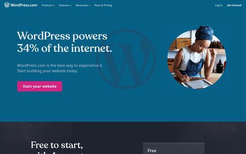 Screenshot of Home Page wordpress.com - WordPress.com: Create a Free Website or Blog - captured Sept. 29, 2019