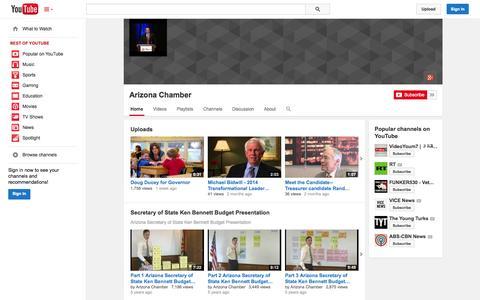 Screenshot of YouTube Page youtube.com - Arizona Chamber  - YouTube - captured Oct. 23, 2014