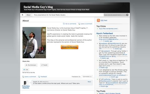 Screenshot of About Page wordpress.com - About | Social Media Guy's blog - captured Oct. 26, 2014