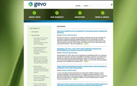Screenshot of Case Studies Page gevo.com - Case Studies | Gevo - captured Sept. 16, 2014