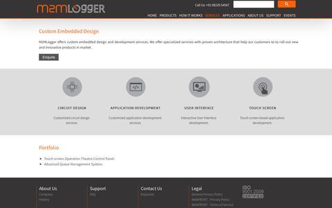 Screenshot of Services Page m2mlogger.com - Custom Embedded Design - m2mlogger - captured Nov. 1, 2014