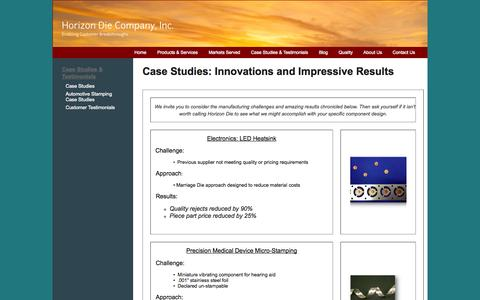 Screenshot of Case Studies Page horizondie.com - Horizon Die Stamping Case-Studies and Results   Horizon Die Company, Inc. - captured Oct. 2, 2014