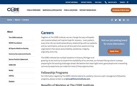 Screenshot of Jobs Page thecoreinstitute.com - Careers • The CORE Institute - captured Oct. 8, 2019