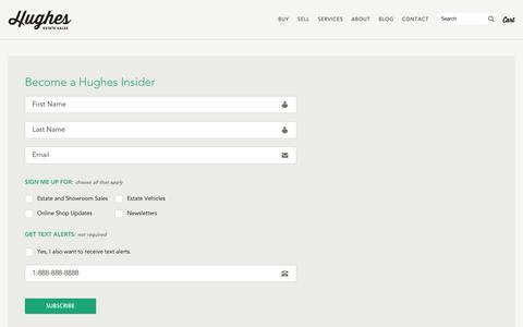 Screenshot of Signup Page hughesestatesales.com - Become a Hughes Insider - Hughes Estate Sales - captured Sept. 30, 2014