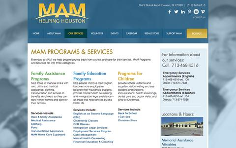 Screenshot of Services Page maministries.org - Memorial Assistance Ministries (MAM) | OUR SERVICES - captured Oct. 5, 2017
