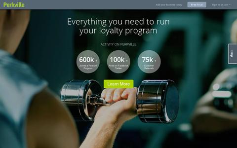 Screenshot of Home Page perkville.com - Rewards and Loyalty - Perkville - captured July 11, 2014